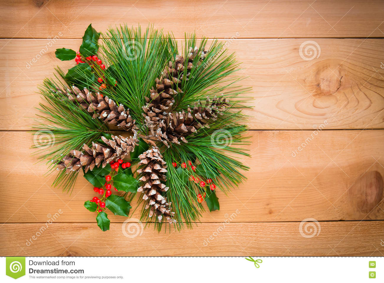 Christmas decoration composition of pine cones and branches with