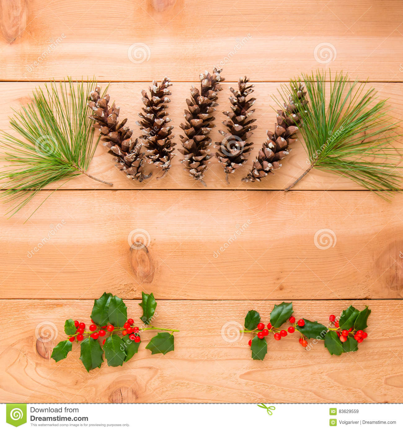 Christmas decoration composition of pine cones and branches on