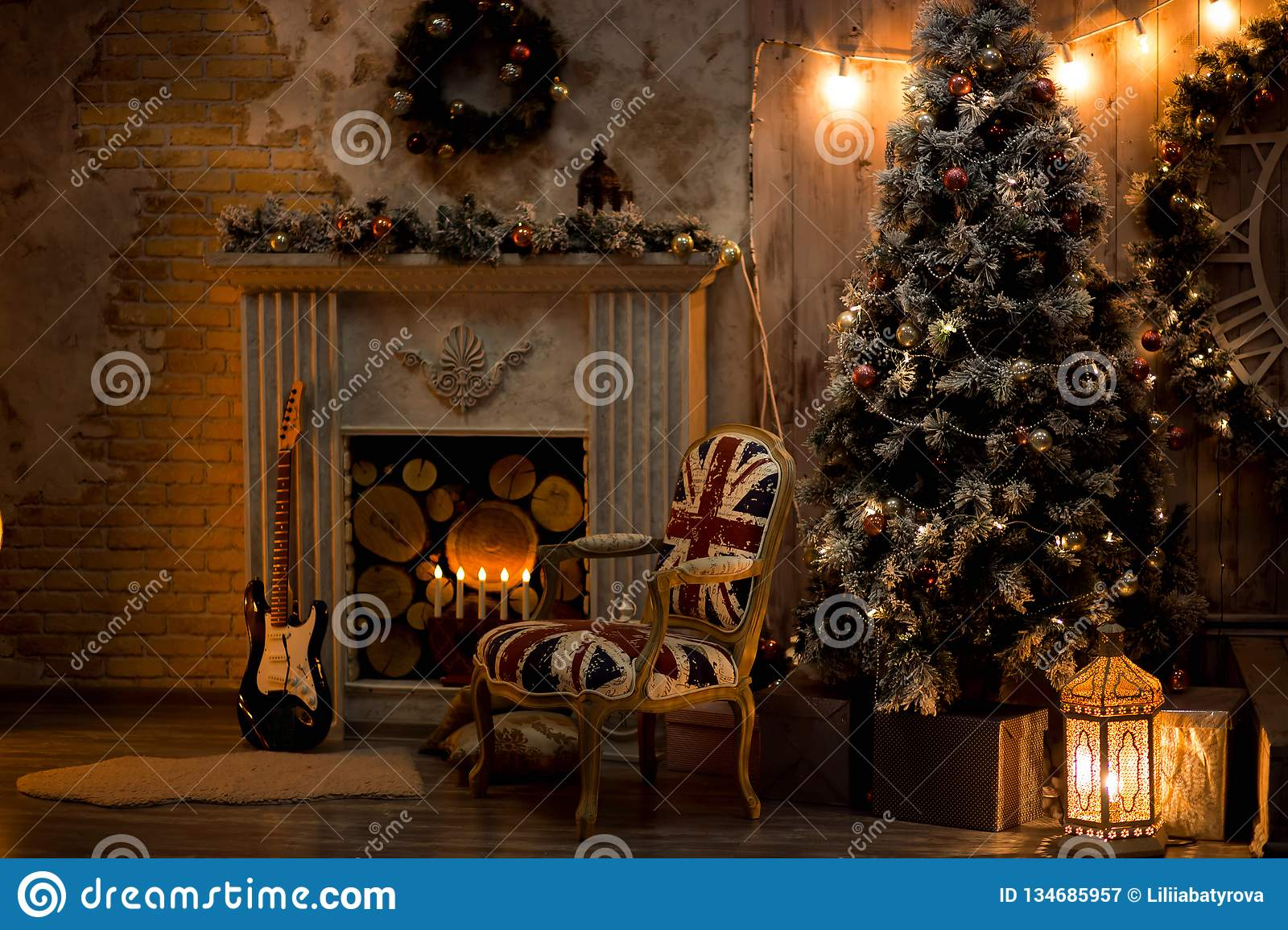 Christmas Decoration In Cozy House Loft Fireplace Christmas Tree