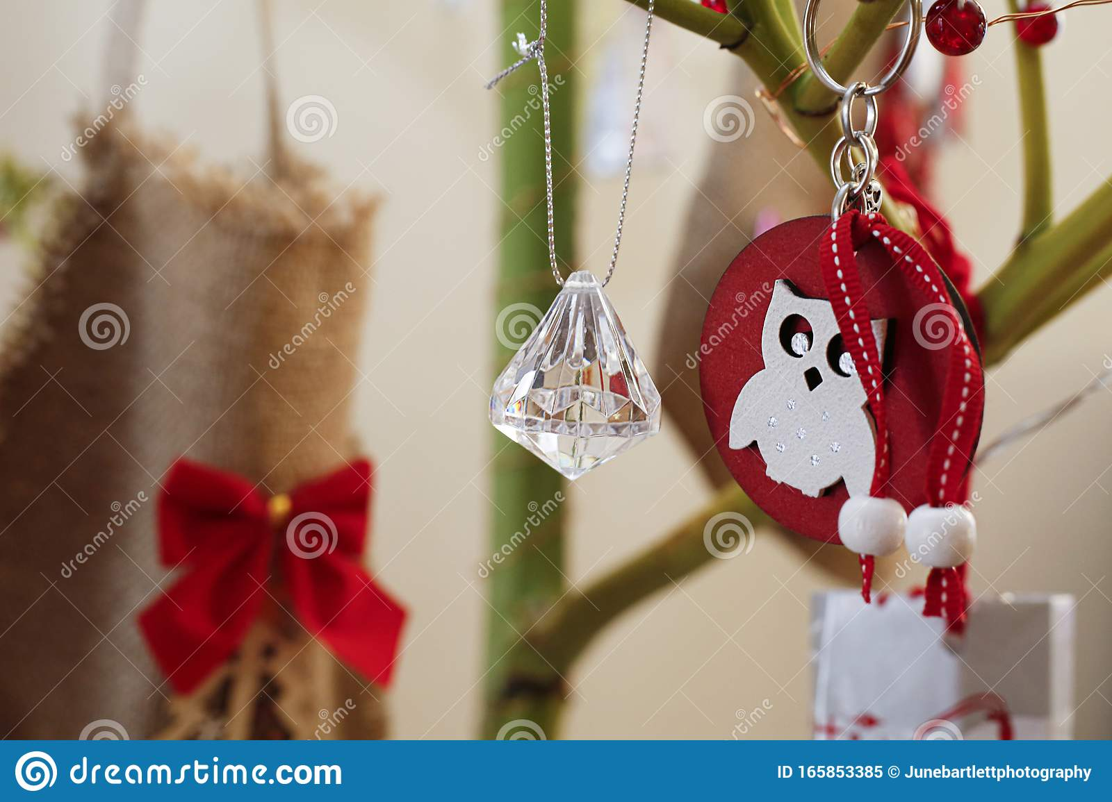 Christmas Decoration With Crystal Beads On Natural Tree Stock Image Image Of Field Handmade 165853385