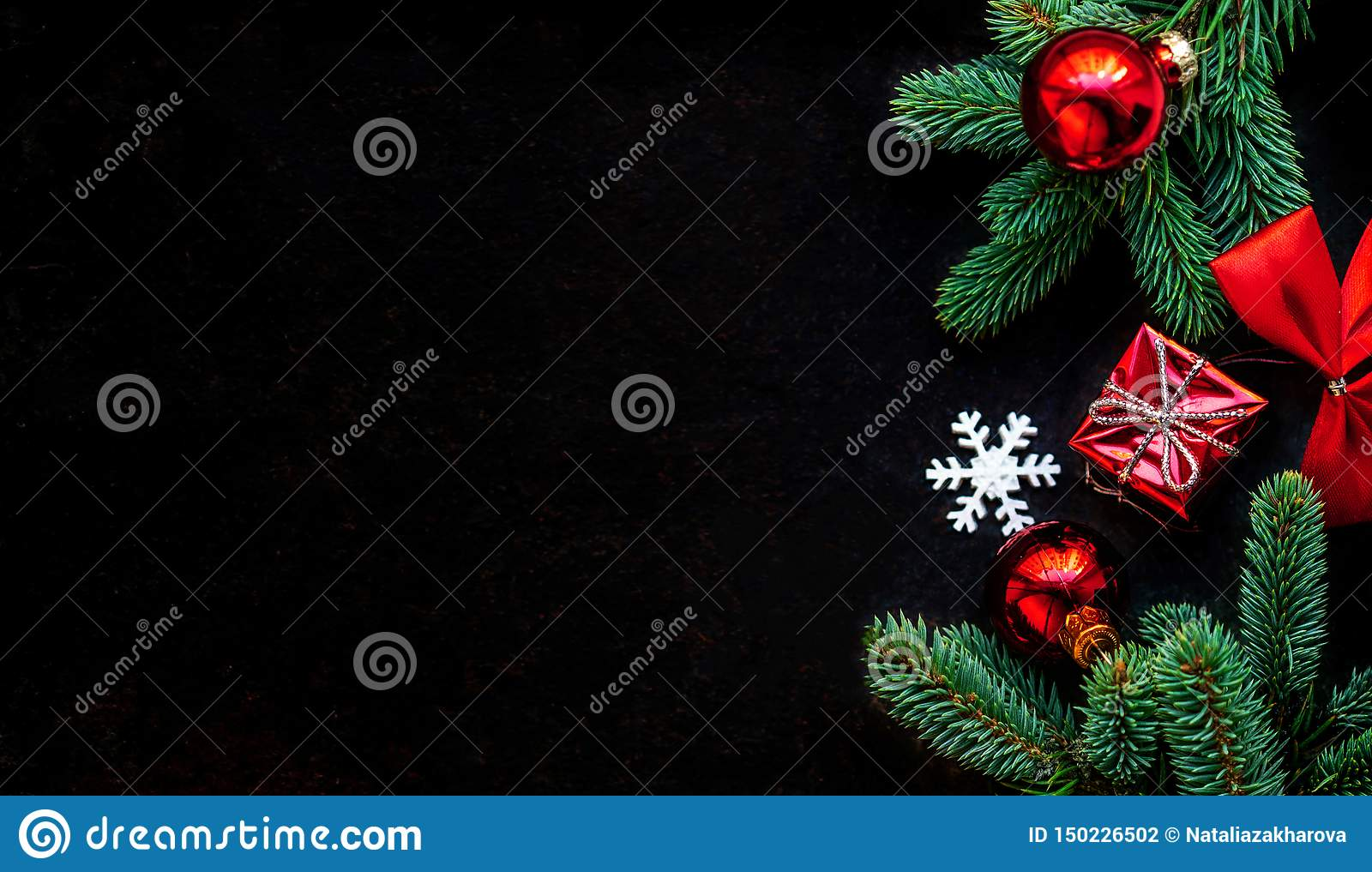 Christmas Decoration On Dark Black Background Flat Lay Christmas Wallpaper With Copy Space Stock Photo Image Of Slate Decoration 150226502