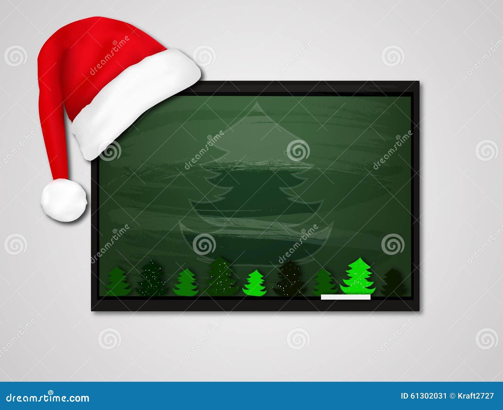 Christmas Decoration Empty School Board Stock Illustration