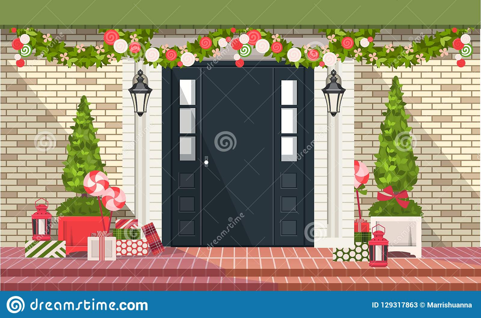 Christmas Decoration Of Entrance Doors Stock Vector Illustration