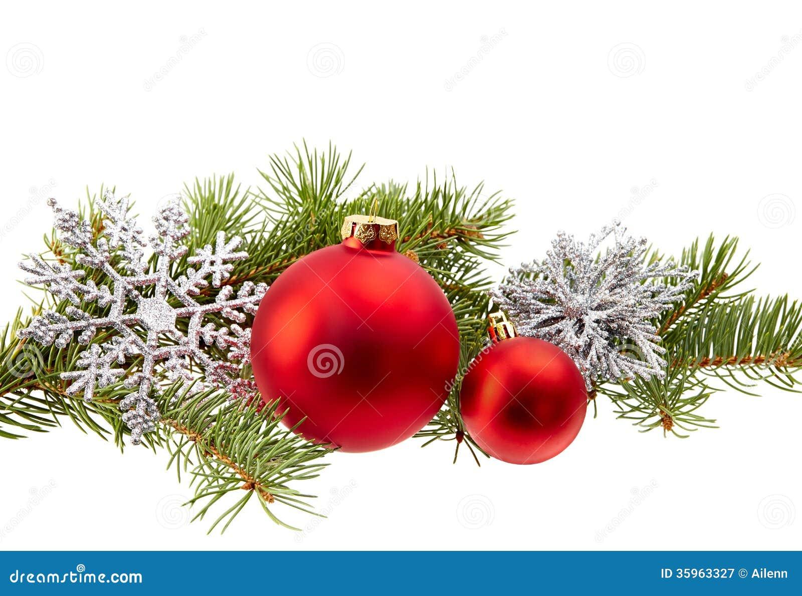 Christmas Decoration Fir Branchchristmas Ballsnowflake Isolated