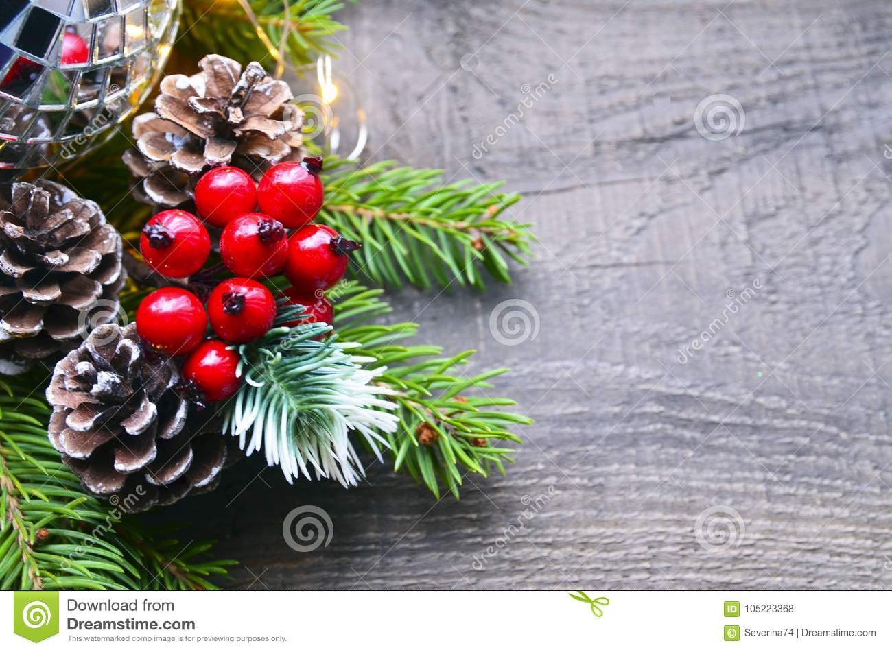 Christmas Decoration With Fir Tree,red Berries,garland