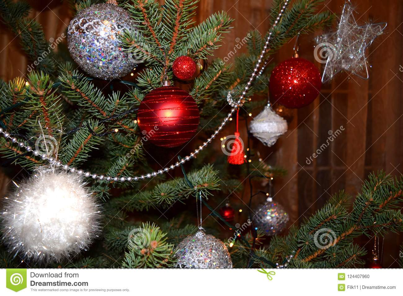 download christmas decoration fir tree with red white and silver balls stock photo