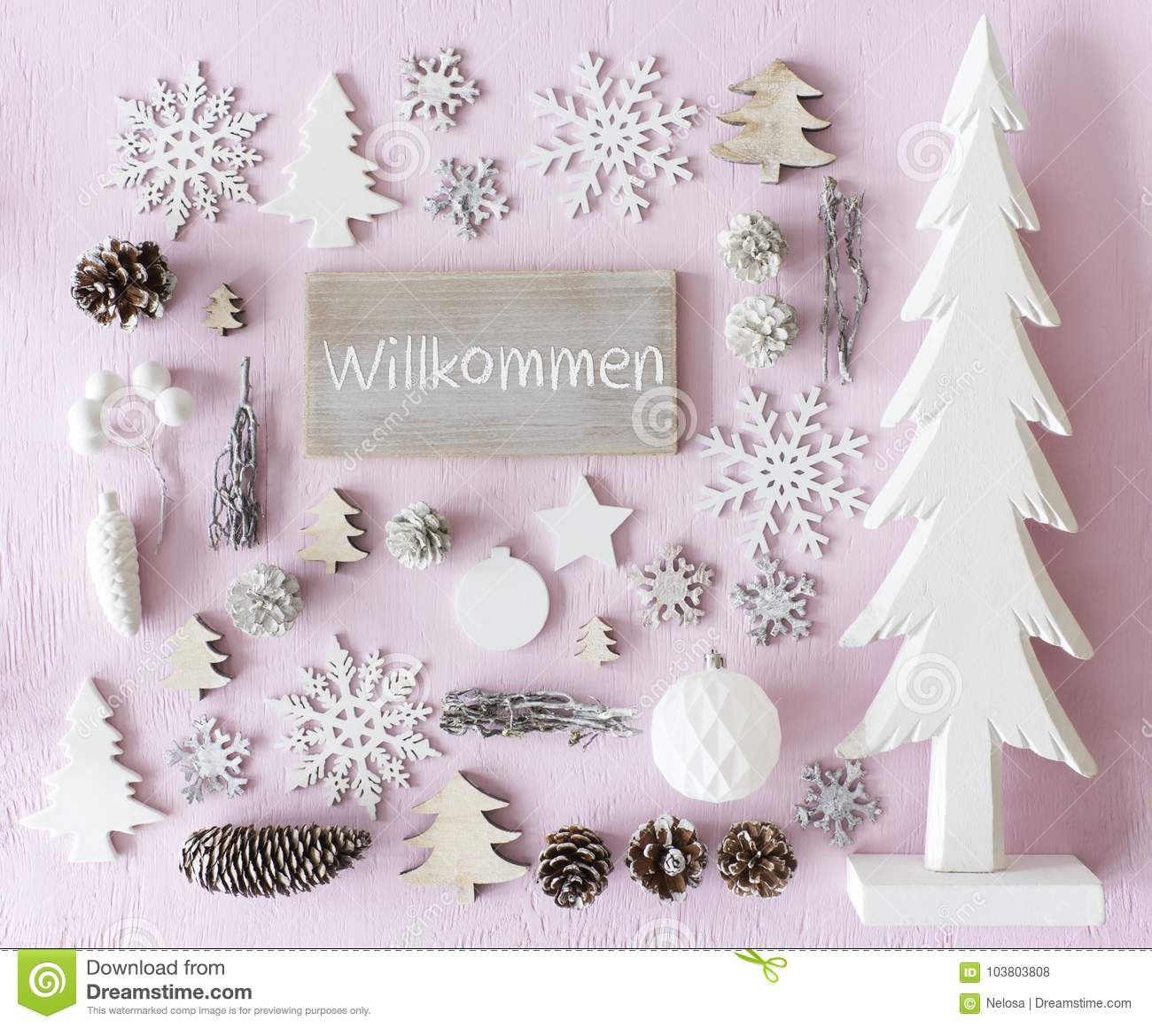 Christmas Decoration, Flat Lay, Willkommen Means Welcome Stock Photo ...