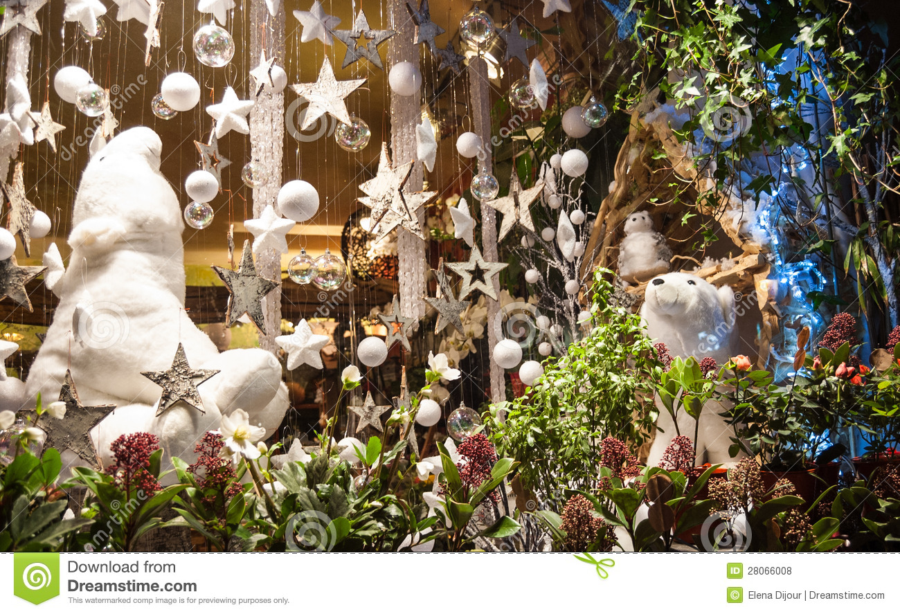 Christmas Decoration In Flower Shop. Bright, Moss. Royalty Free Stock  Photo. Download Christmas Decoration In Flower Shop.