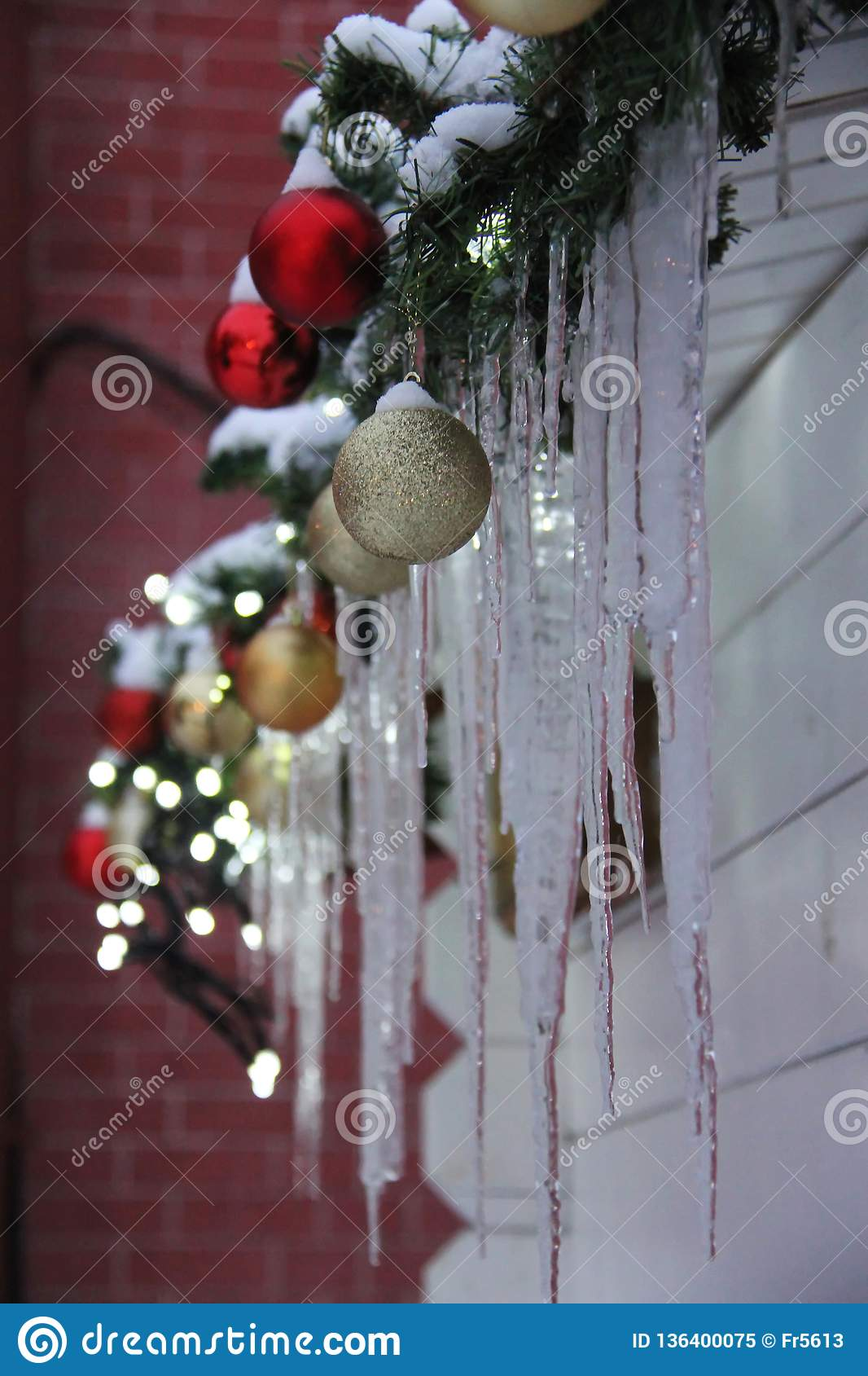 Frozen Christmas Decorations.Christmas Decoration In The Form Of Colored Balls Stock
