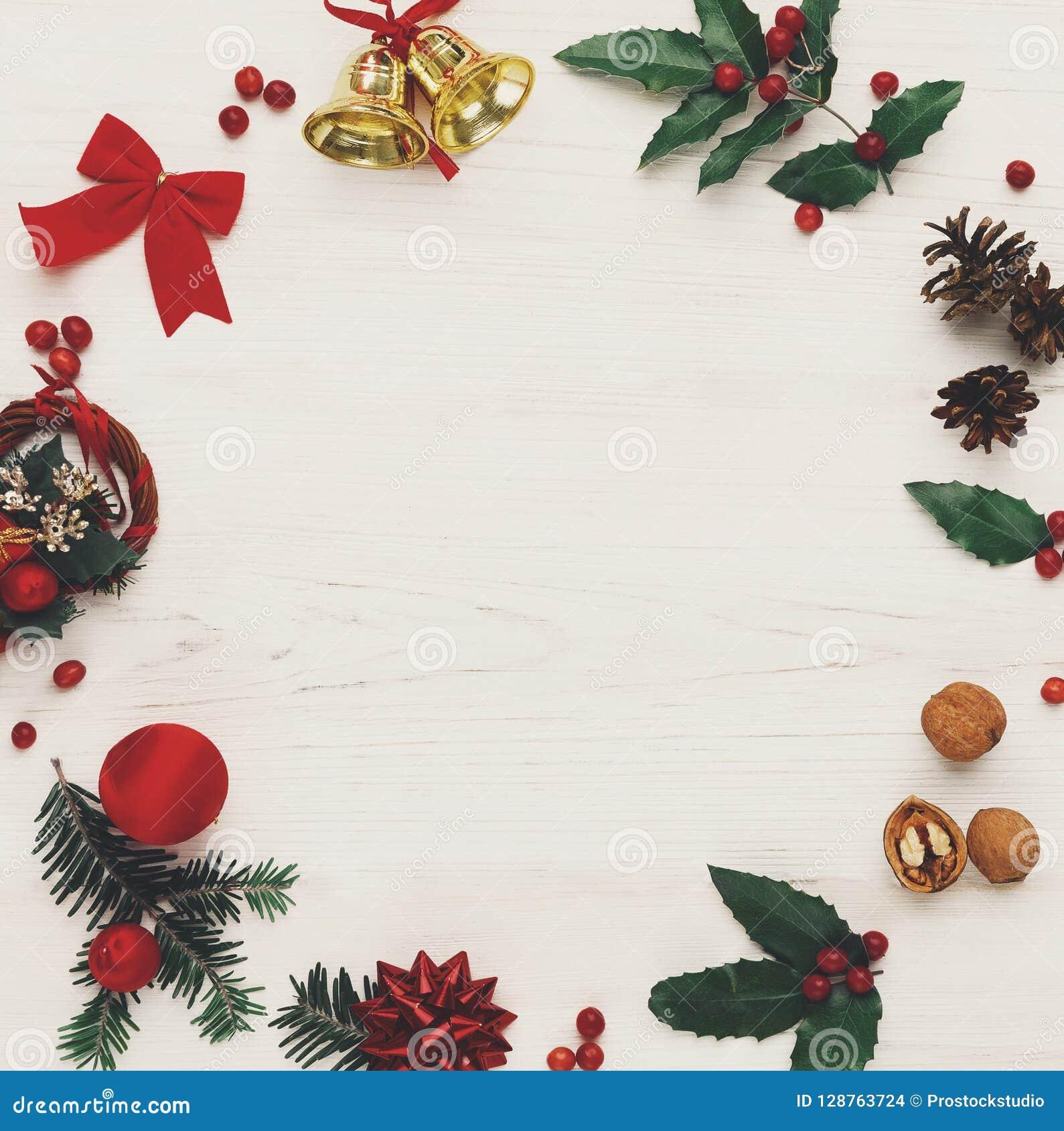 Christmas Decoration Frame On Wooden Background Stock Photo Image