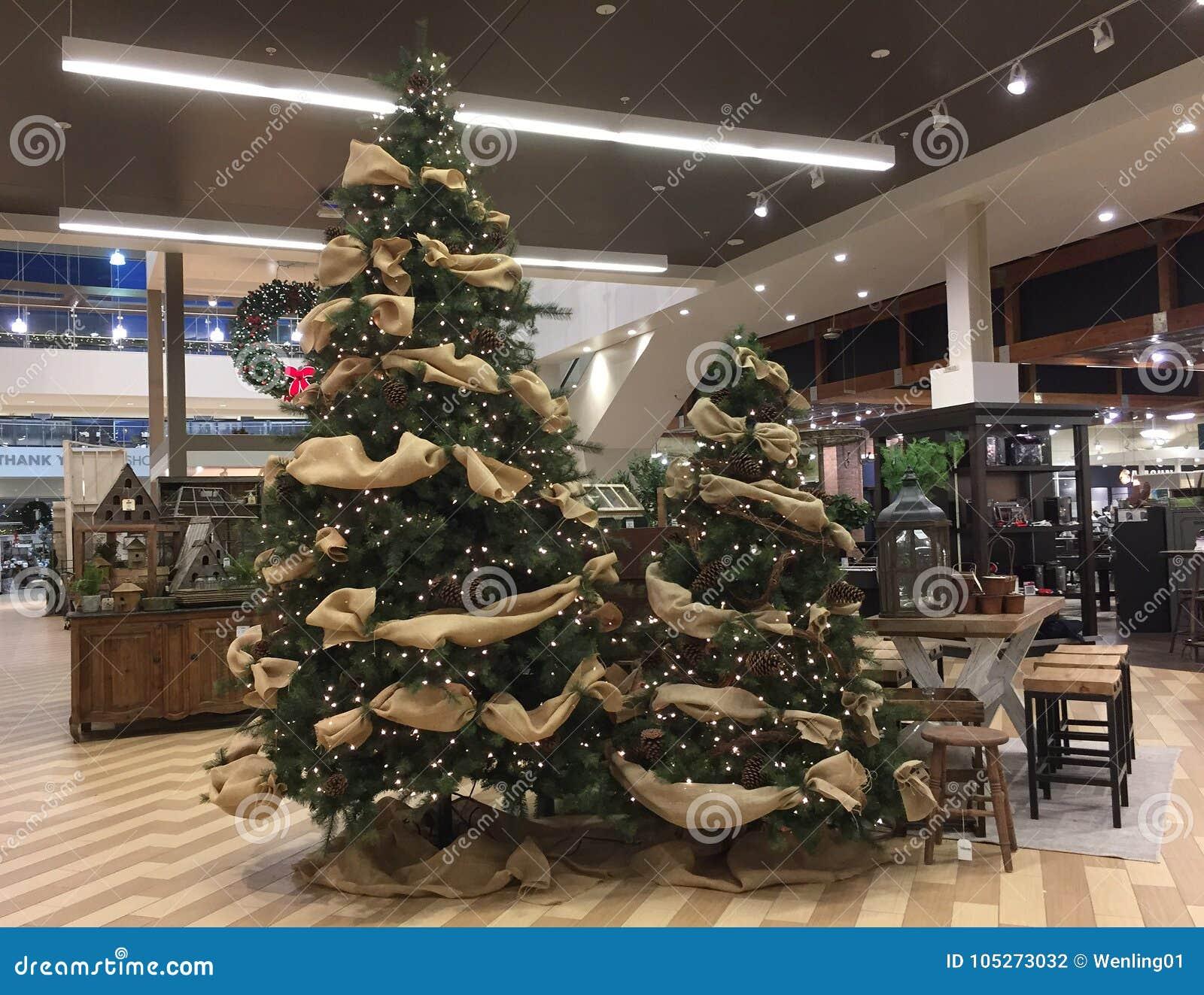 Nice christmas decoration on modern furnishing and furniture store texas usa 2017