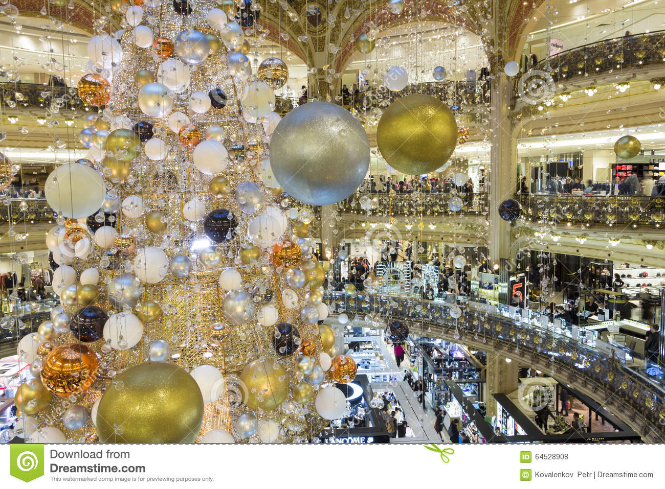 The christmas decoration at galeries lafayette shopping center editorial stock photo image for Photo decoration