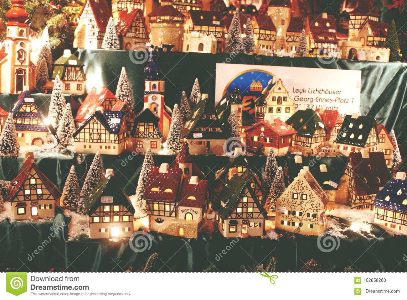 christmas decoration german porcelain lighted village houses for christmas
