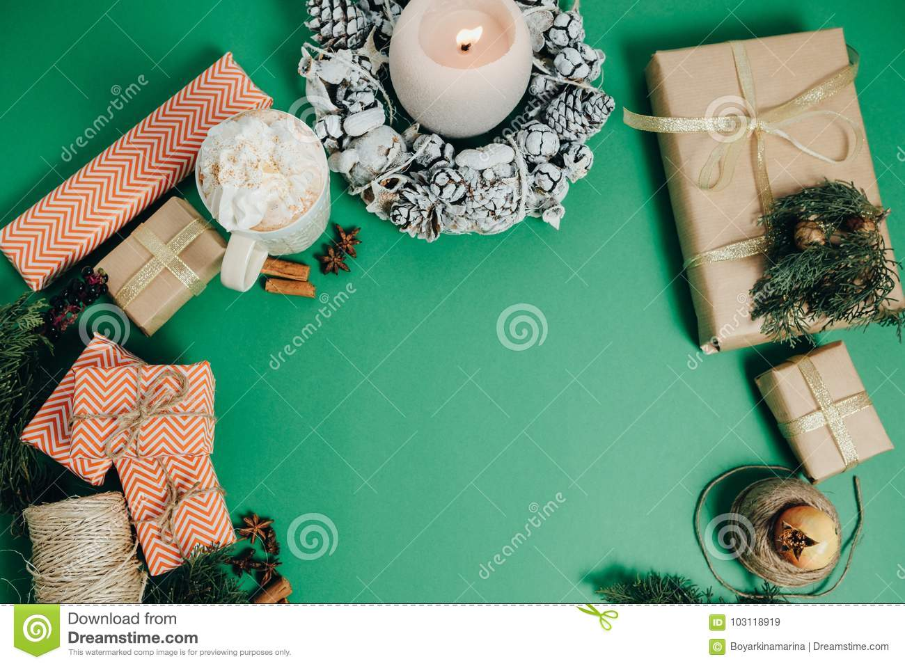 download christmas decoration with gift box on green table orange lemon stock image image of