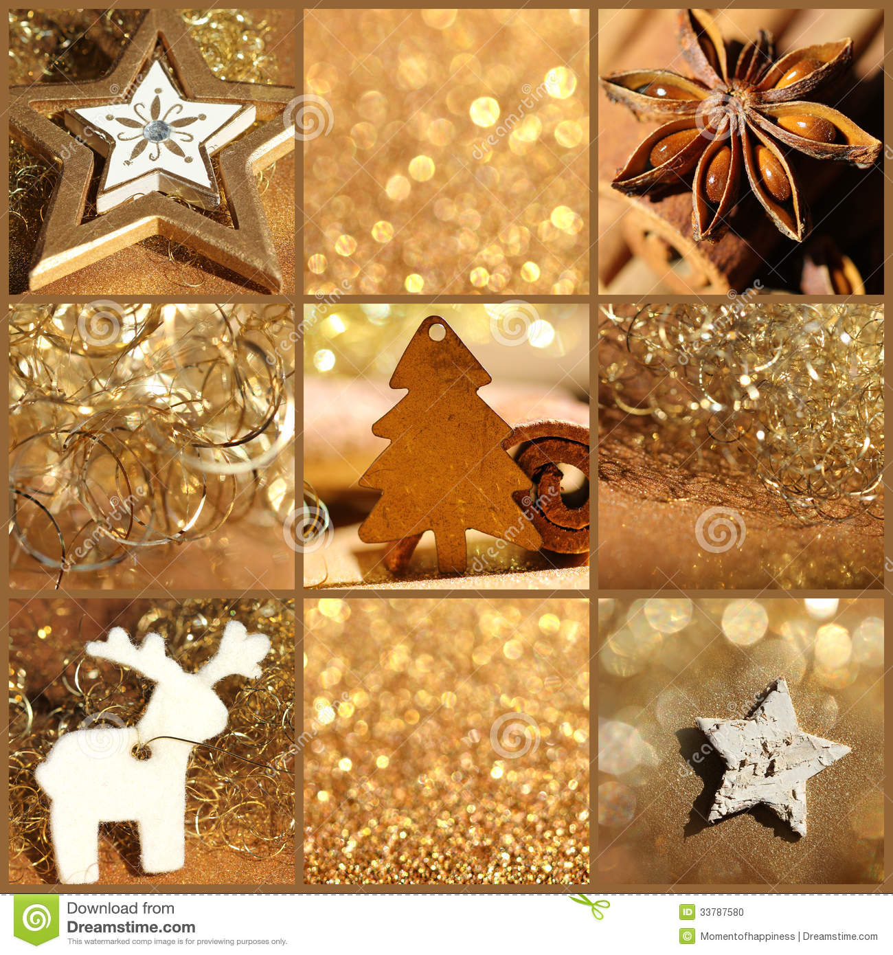 Christmas Decoration Gold Collage Stock Photo Image