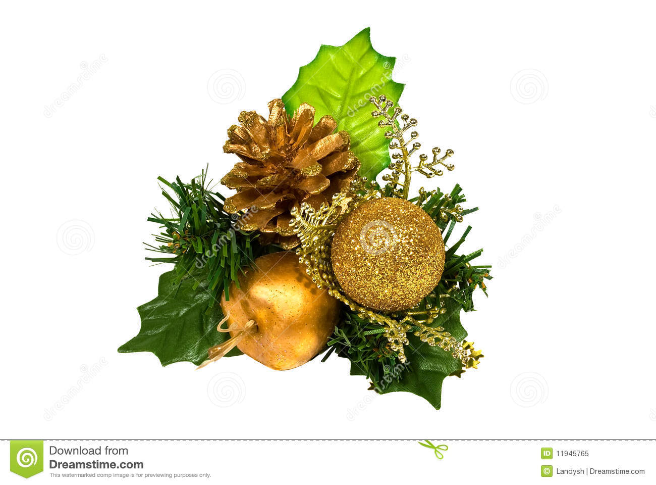 Christmas Decoration - Green Gold Branch Stock Image ...