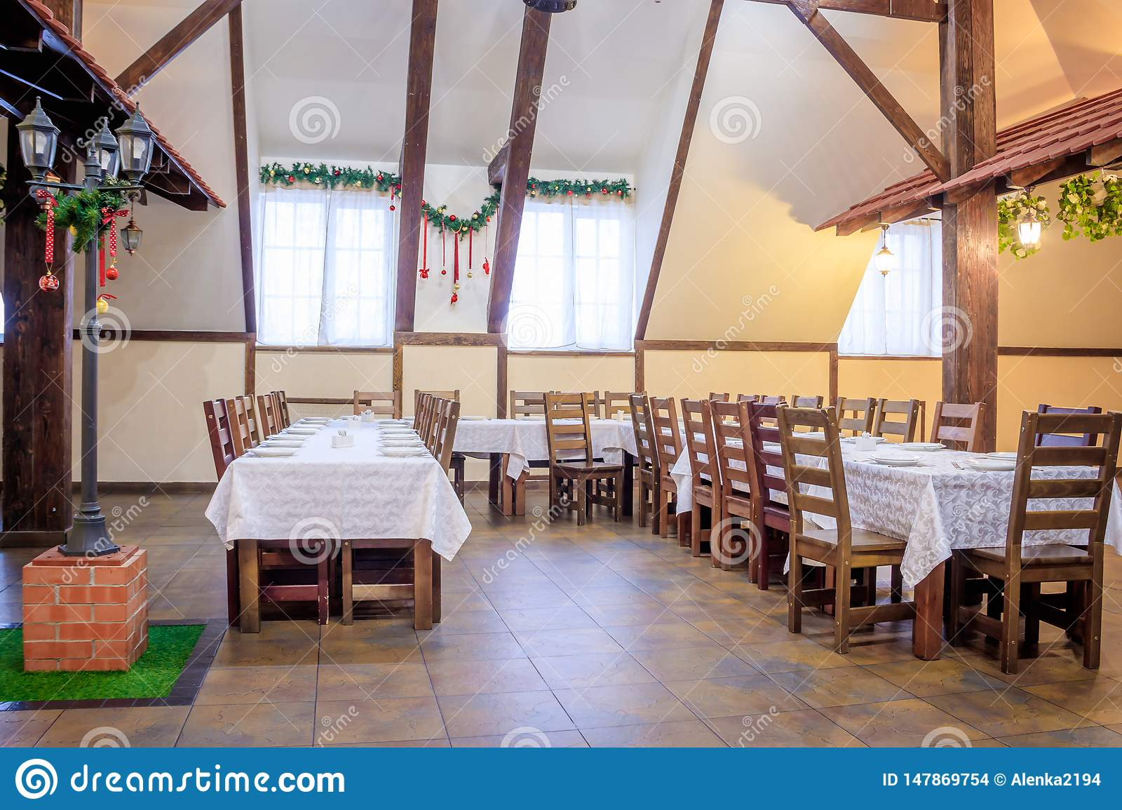Christmas Decoration Of The Hall In The Restaurant Holiday In The Restaurant New Year S Decor White Scenery The Interior Stock Photo Image Of Happy Hotel 147869754