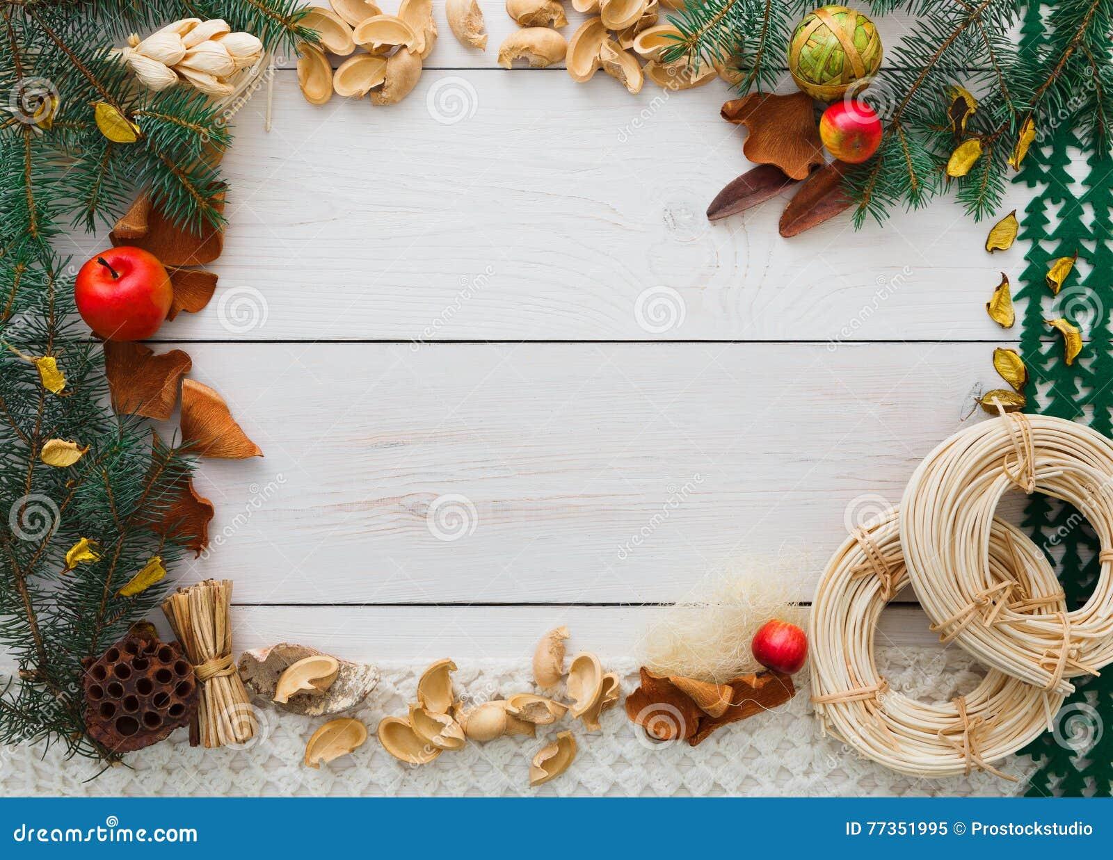 Christmas Decoration Handmade Frame On White Wood Background Copy ...