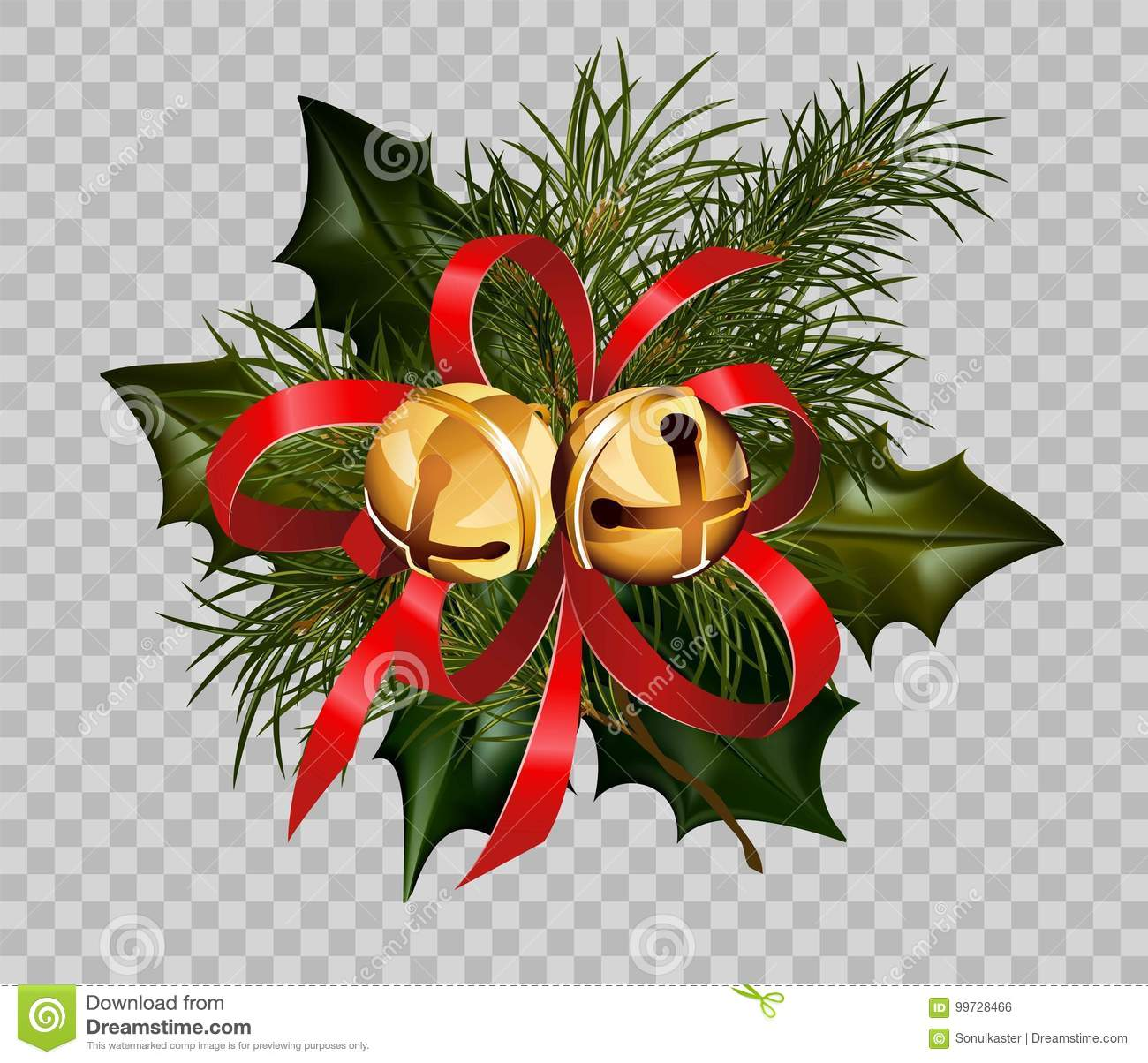 Christmas Graphics Transparent.Christmas Decoration Holly Fir Wreath Bow Golden Bells