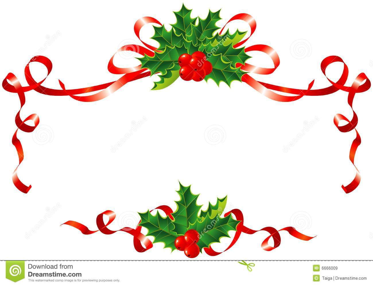 Christmas decoration holly and ribbons border stock for Decoration noel