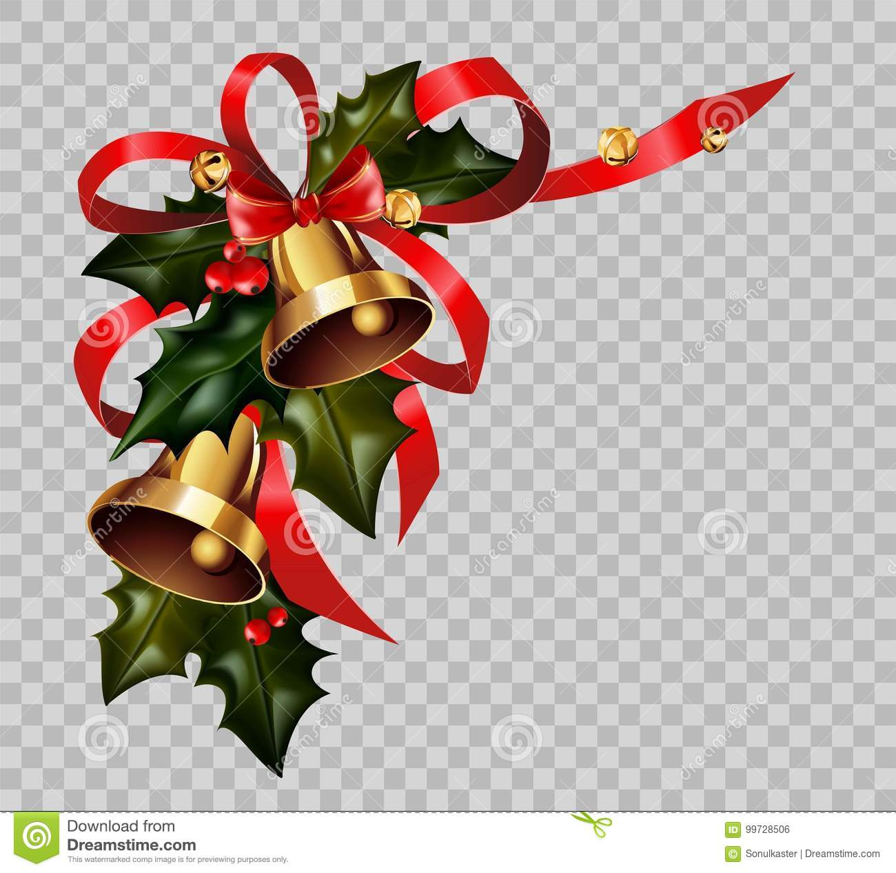 christmas decoration holly wreath bow gold bells element vector transparent background - Christmas Transparent