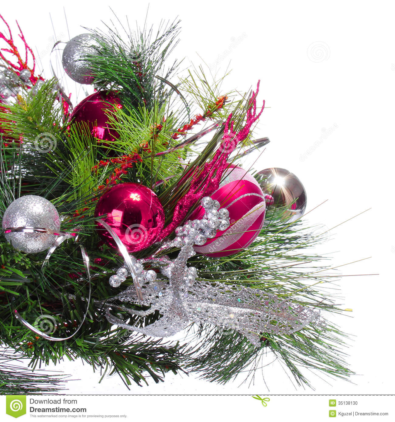 Christmas Decorations With Tree Branches: Christmas Decoration. Hot Pink Balls On Christmas Tree