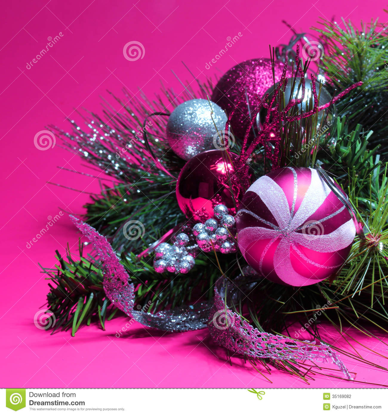 christmas decoration hot pink and silver balls on christmas tre stock photo image 35169082. Black Bedroom Furniture Sets. Home Design Ideas