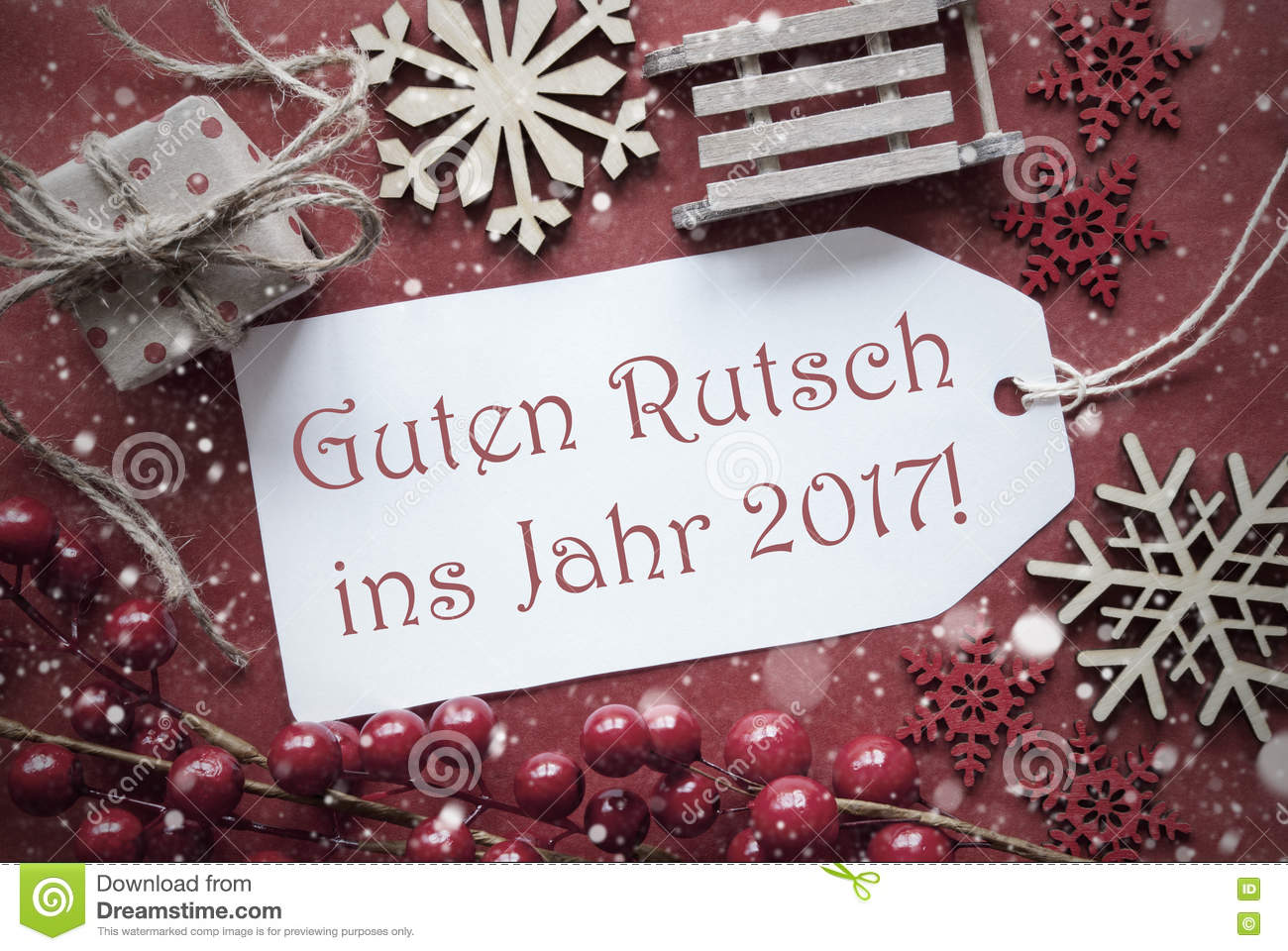 christmas decoration label with guten rutsch 2017 means new year stock photo image 77546764. Black Bedroom Furniture Sets. Home Design Ideas