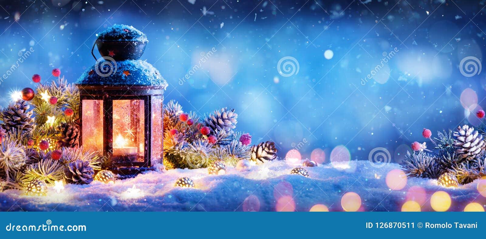 Christmas Decoration - Lantern With Ornament