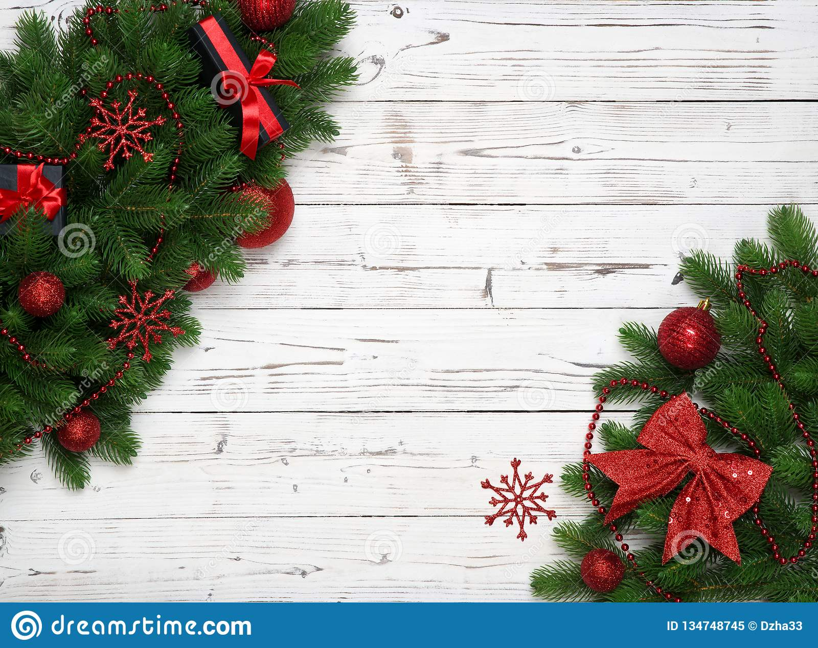 Christmas Decoration With New Year Decor, Ball, Baubles ...