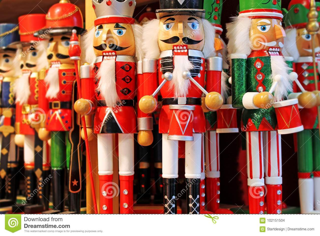 Colorful Nutcrackers At A Traditional Christmas Market In Salzburg ...