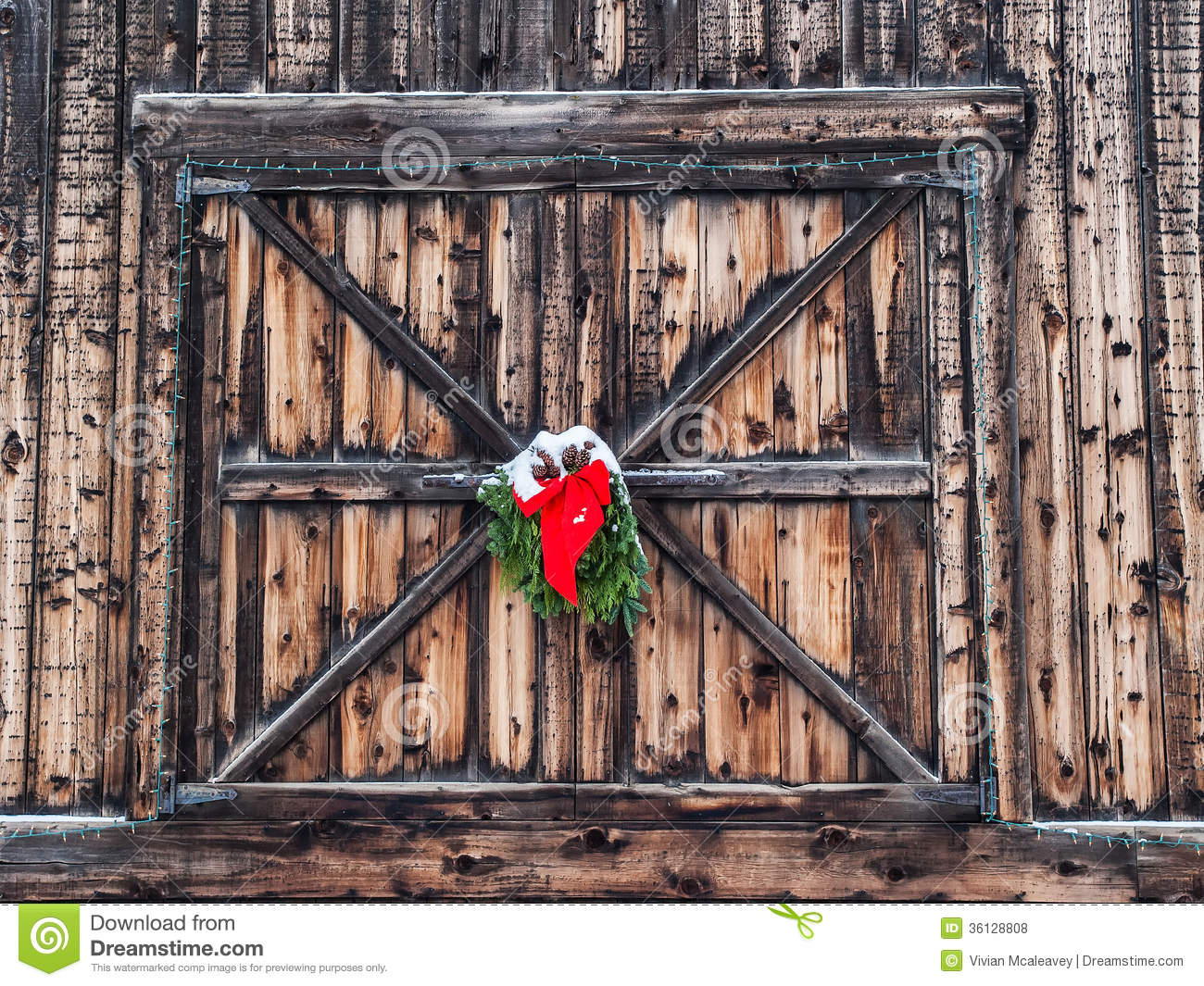 Old Barn Doors Decoration christmas decoration on old barn royalty free stock photos - image
