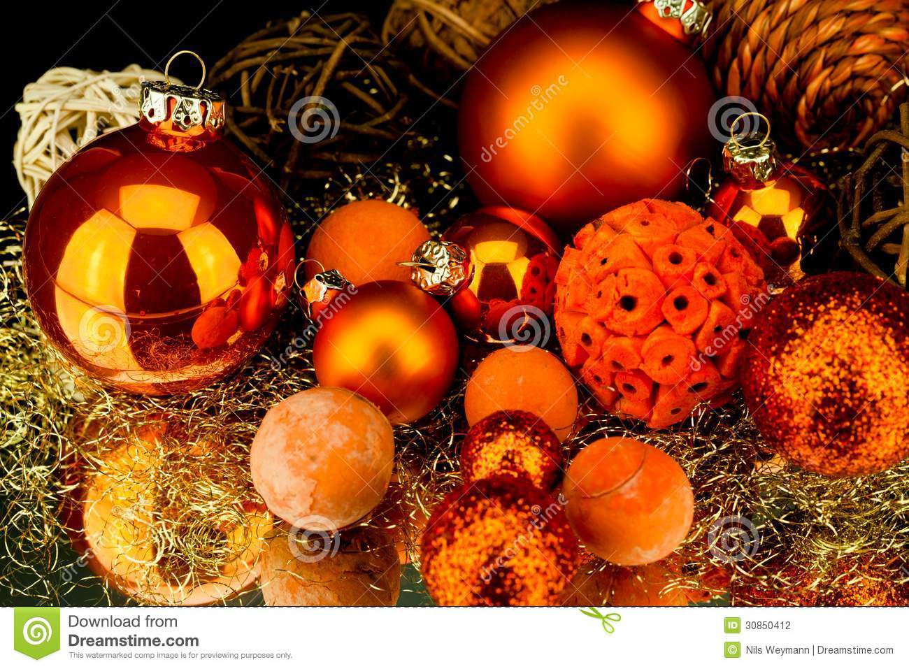 #C49107 Christmas Decoration In Orange On Black Stock Photography  5283 decoration table noel orange 1300x957 px @ aertt.com