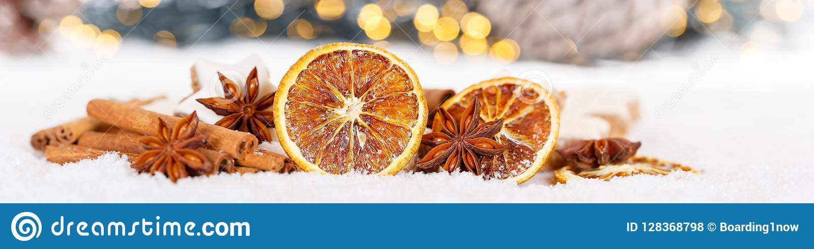 Christmas decoration orange fruit herbs baking bakery banner snow winter