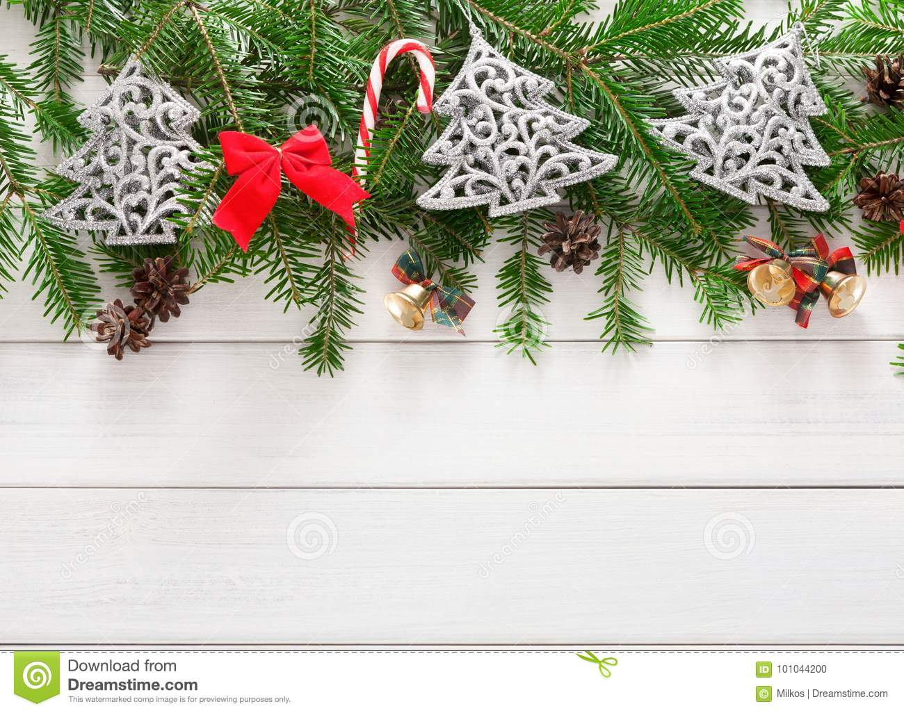 Christmas Decoration, Ornaments And Garland Frame Background Stock ...