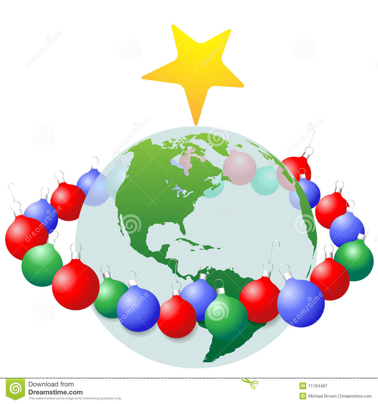 Christmas Decoration Ornaments Ring Around Earth Royalty