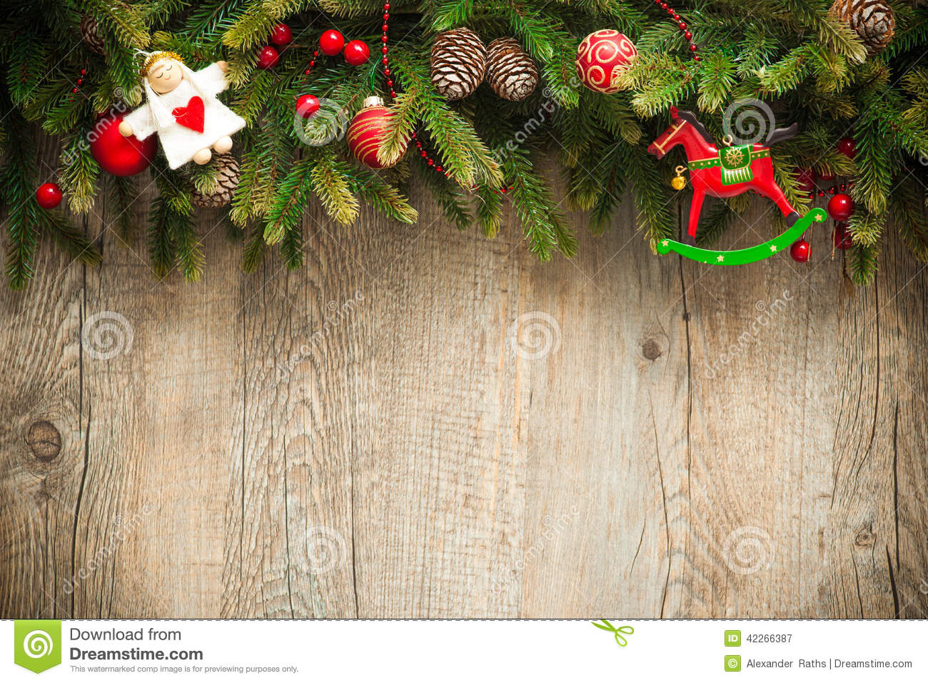 Download Christmas Decoration Over Old Wooden Background Stock Image - Image of christmas, festivity: 42266387