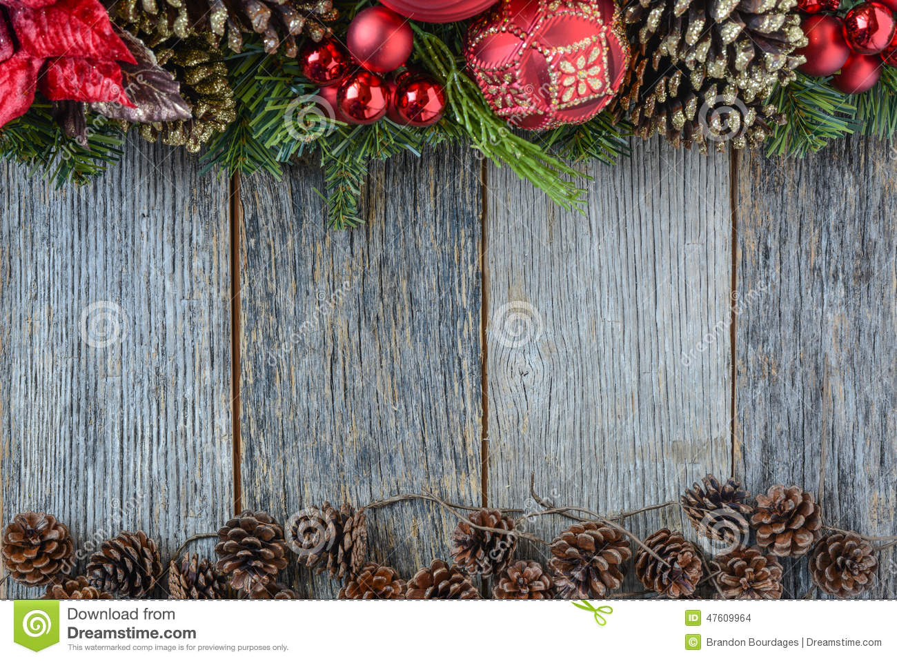 Christmas decoration over wooden background stock photo for Background decoration