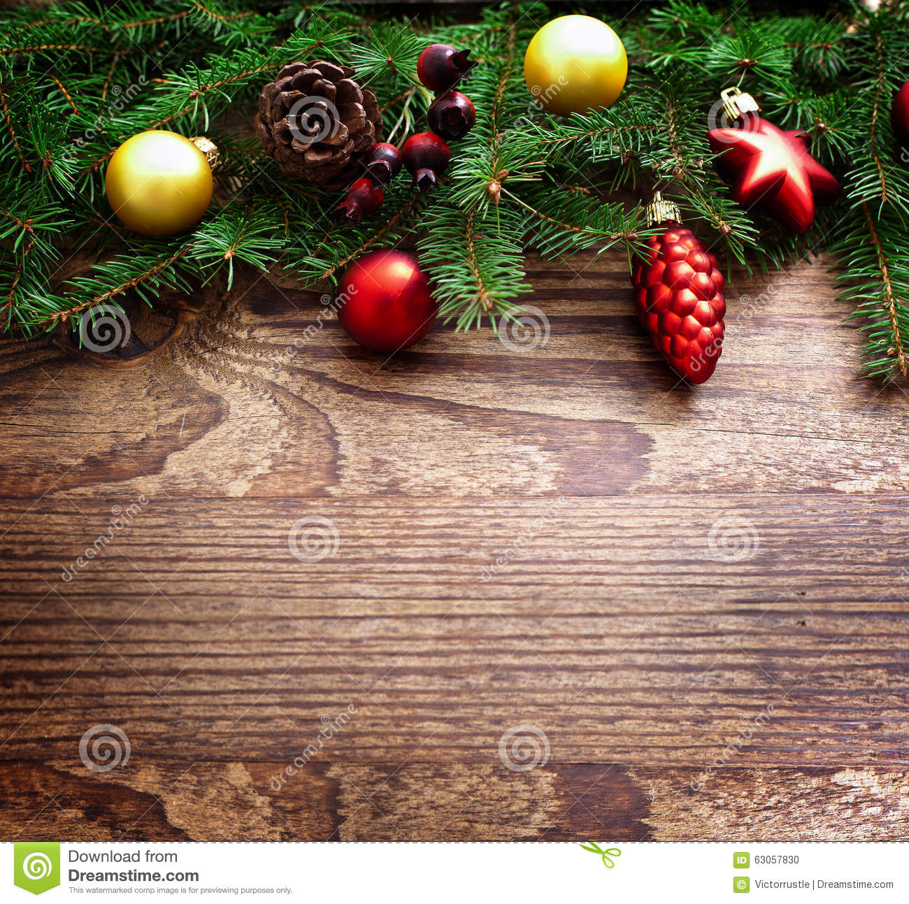 Christmas decoration over wooden background decorations Over the top christmas tree decorations