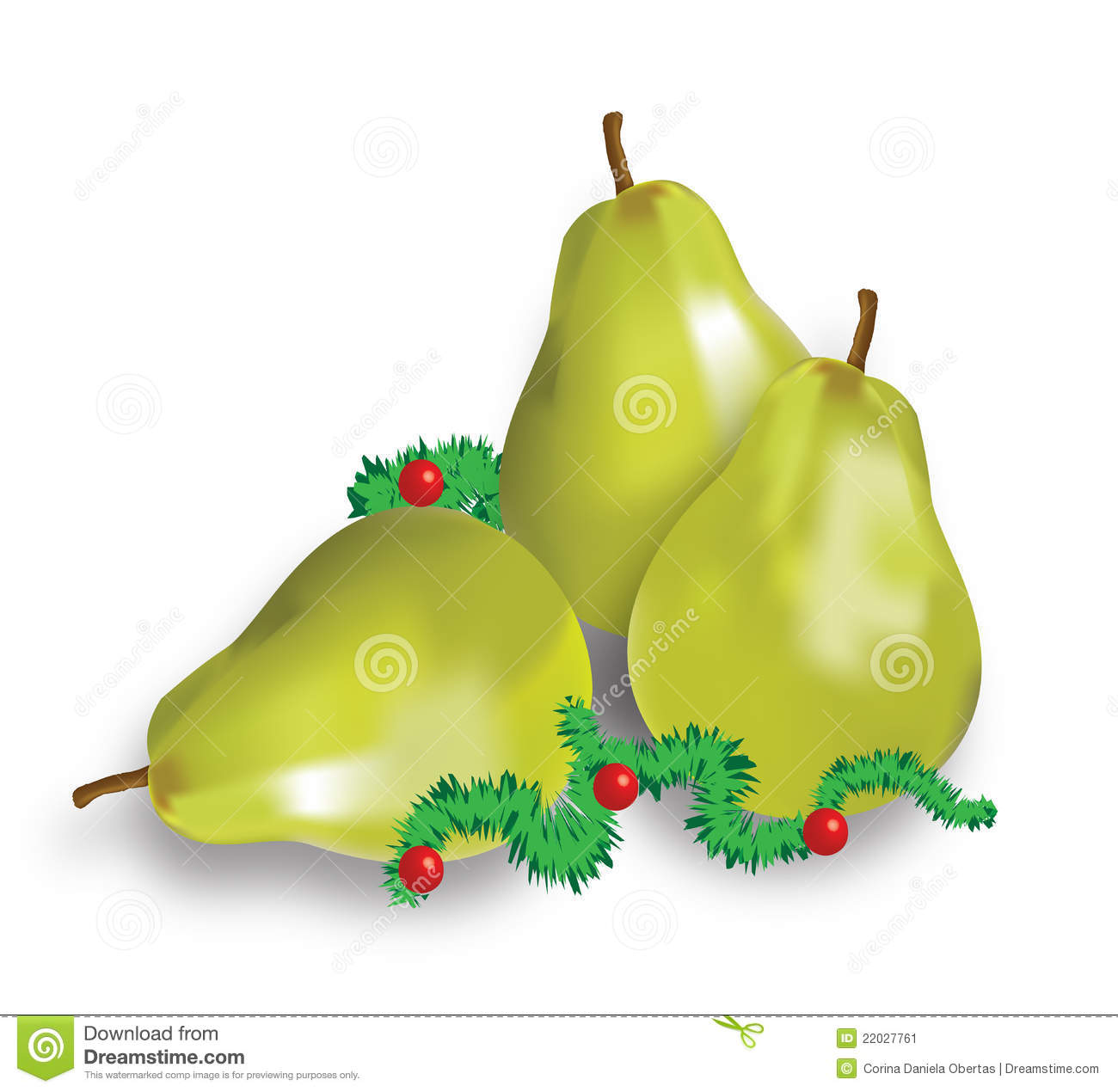Christmas Pears.Christmas Decoration With Pears Stock Vector Illustration