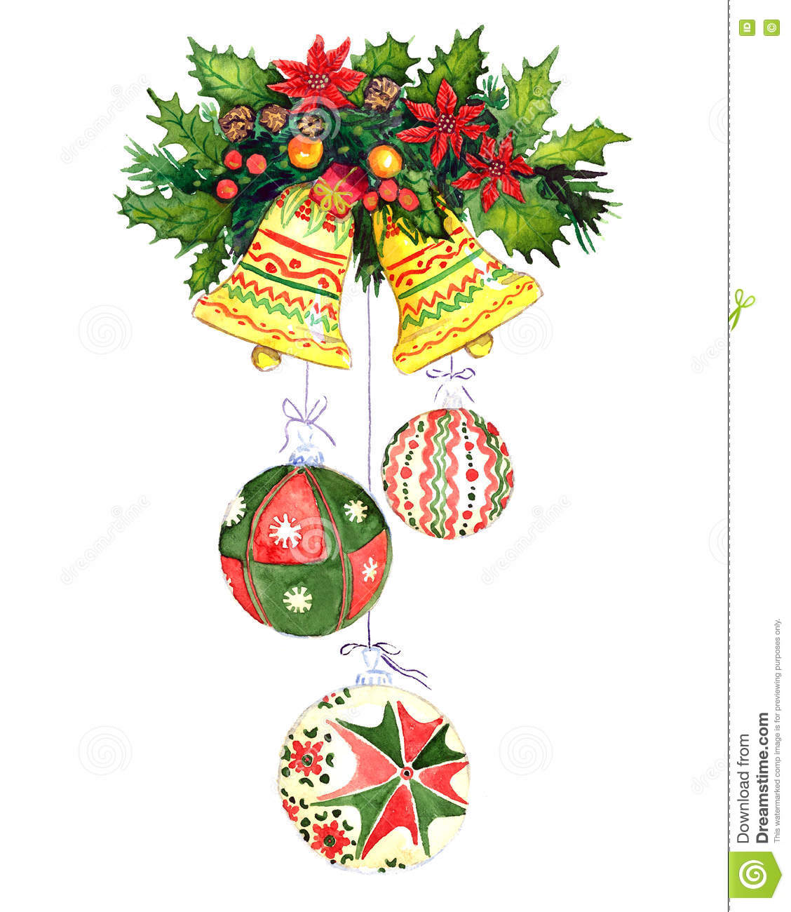 Pine Branches For Decoration Christmas Decoration With Pine Tree Branches Berries Bells And