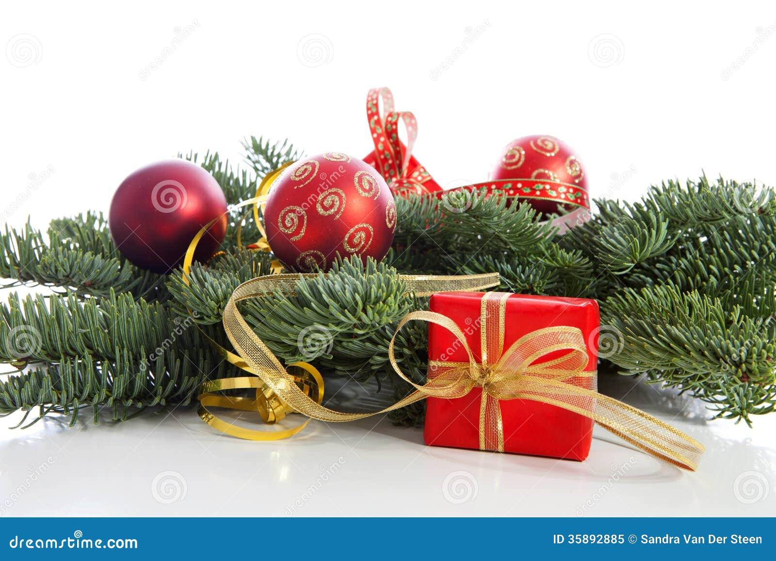 Christmas Decoration On Pine Tree Royalty Free Stock Photo