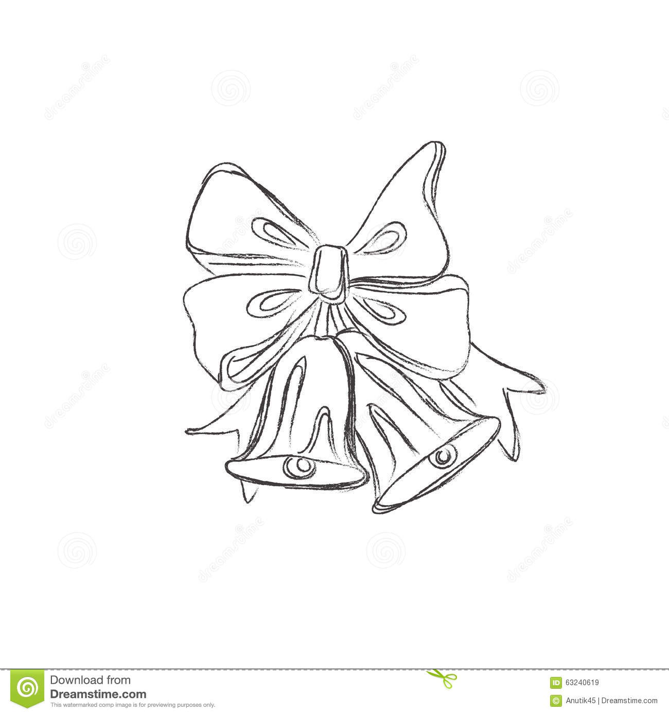 Drawings Of Christmas Decorations.Christmas Decoration Pine Vector Illustration In Sketch