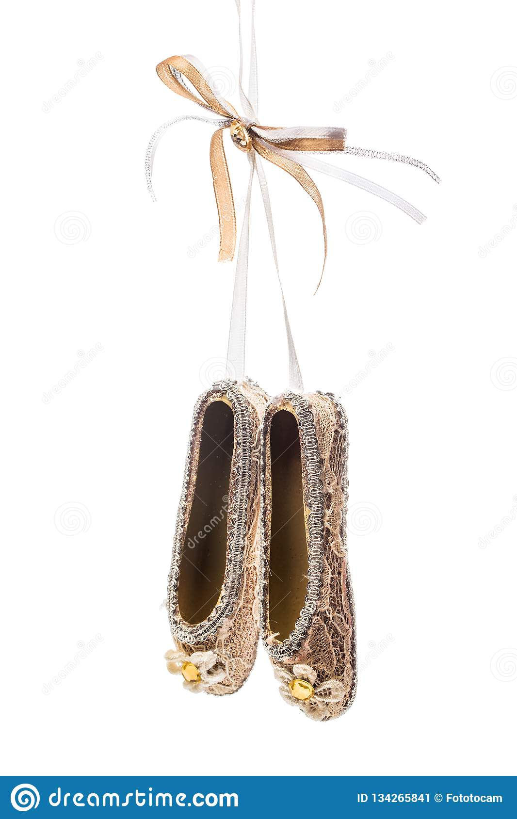 Christmas decoration pointe shoes on white background