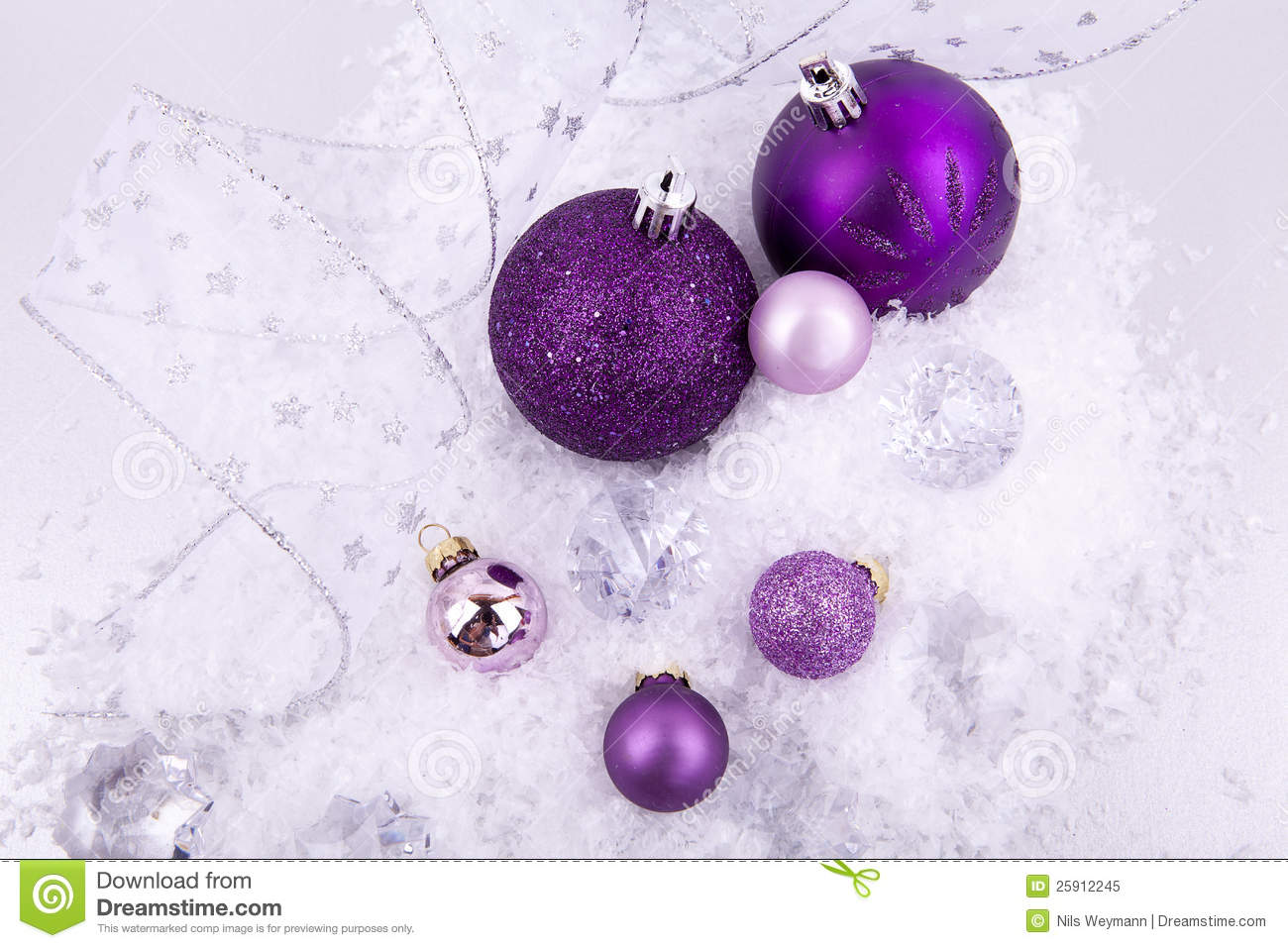 christmas decoration purple silver on snow - Purple And Silver Christmas Decorations