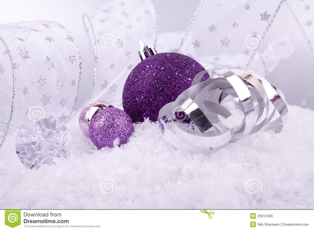 Lavender christmas ornaments - Christmas Decoration Purple Silver On Snow
