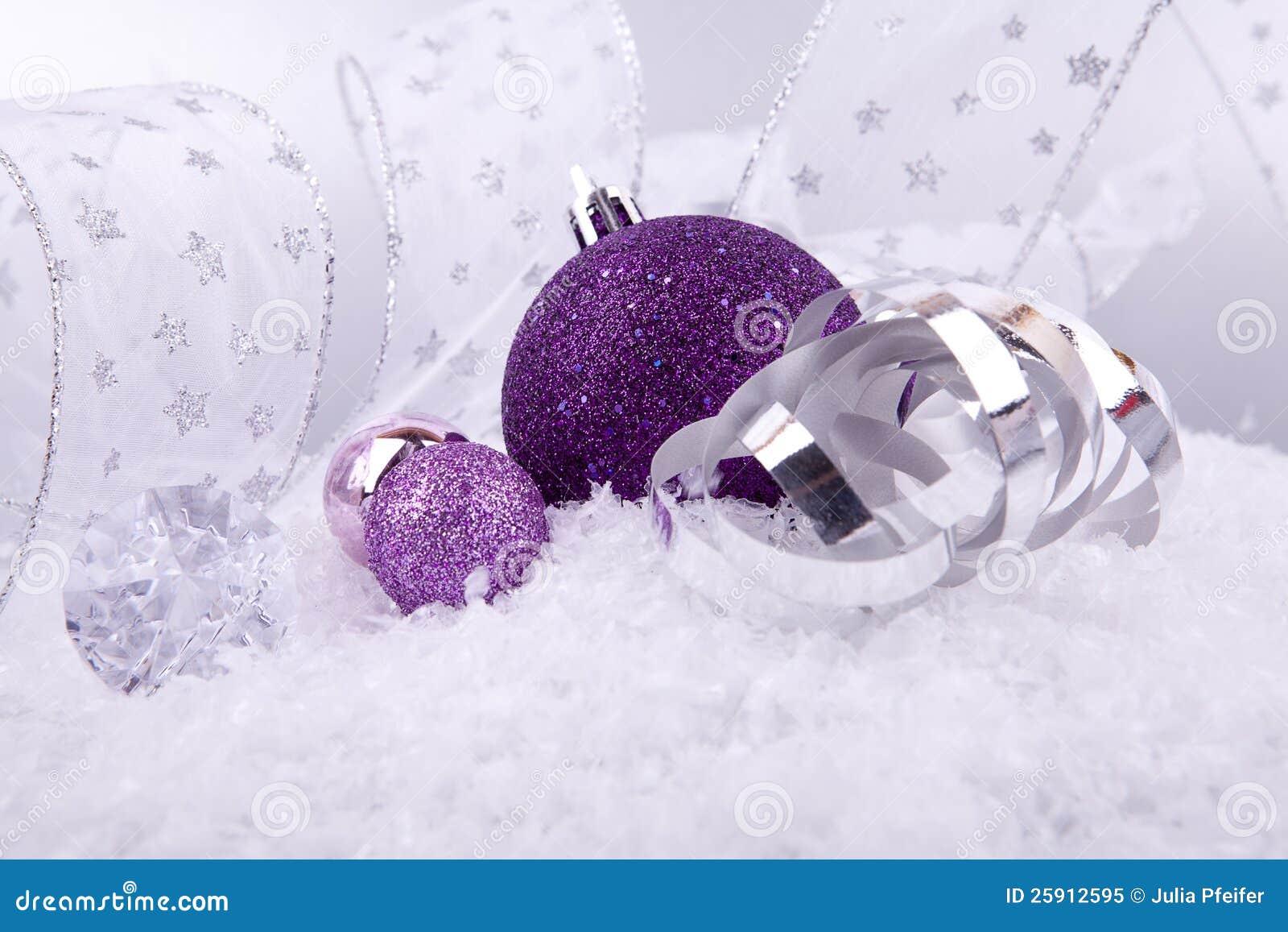 Christmas Decoration Purple Silver On Snow Royalty Free Stock Photo ...