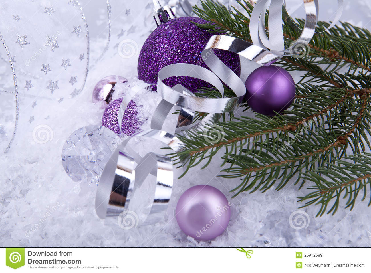 Lavender christmas ornaments - Christmas Decoration Purple Silver On White Snow