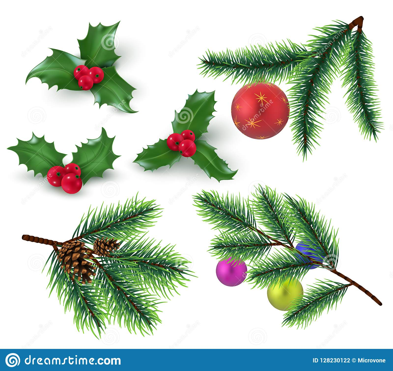 Christmas Decoration Realistic Fir Tree Branches And Red