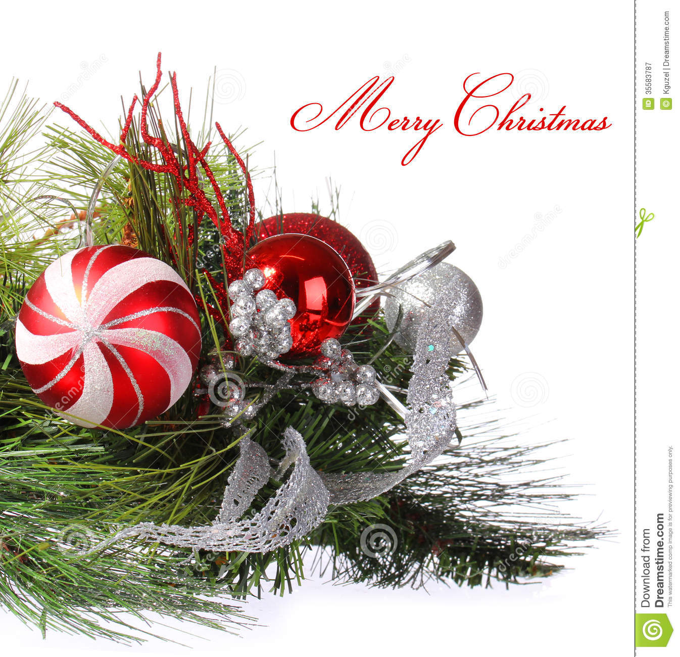 Christmas Decorations With Tree Branches: Christmas Decoration. Red Balls On Christmas Tree Branch